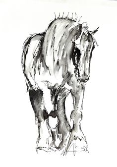 Show Shire Horse Card by Suzy Sharpe by NineMaidensStudios on Etsy, £2.50