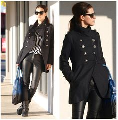 Stripes and military coat  (by Veronica  P) http://lookbook.nu/look/3124407-stripes-and-military-coat