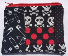 Skulls, Safety Pins, and Polka Dots Zipper Pouch - Punk, Patchwork, Upcycled.
