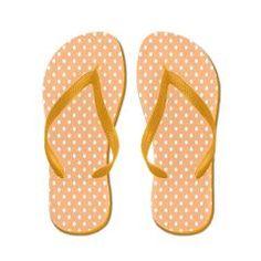 White Dots on Pastel Peach Flip Flops $16.00 from Flip-Flop Fanatic