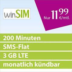 http://ift.tt/1QEw1dB winSIM LTE Mini SMS 3GB [SIM Micro-SIM und Nano-SIM] monatlich kündbar (3 GB LTE mit max. 50 MBit/s 200 Frei-Minuten SMS-Flat 1199 Euro/Monat 15ct pro Folgeminute) O2-Netz @Checkingooo%%