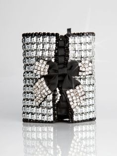Silver & Black Rhinestone Party Pocket Bracelet  Ice