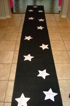 rockstar black carpet isle runner with the kids names in stars