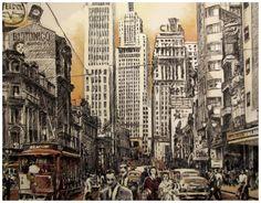 Avenida São João, São Paulo, c. 1957 120 x 90 cm, carvão e acrílico sobre tela, detalhe Marco Angeli, maio de 2015  http://marcoangelistudio.blogspot.com.br/