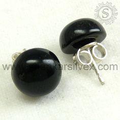 925 silver black onyx gemstone stud earrings.
