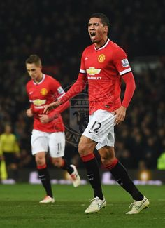 Chris Smalling celebrates after netting 2nd goal for Manchester United in 3-1 win over Burnley.