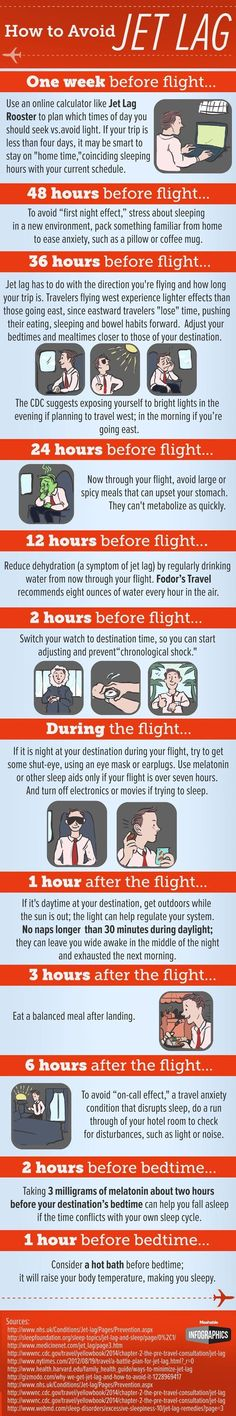 Jet lag can be a downer on an otherwise exciting vacation. We found a couple infographics that illustrate some of the best ways to beat jet lag. Take a look at these tips to help you fight through jet lag when you travel. Travel Info, Air Travel, Travel Advice, Japan Travel, Travel Hacks, Travel Deals, Travel Plane, Japan Trip, Budget Travel