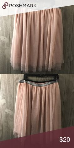 Blush Pink Below the Knee Tutu Ballerina Skirt This skirt is adorable and versatile! Has silver stretchy waistband. Excellent condition Xhilaration Skirts Circle & Skater