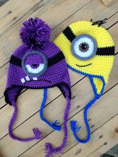 Set of Two -Minion INSPIRED crochet Minion & Evil Minion Hats, Crochet Hat, Christmas gift, Crochet