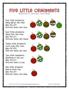 Five Little Ornaments Poem and Finger Puppets Christmas ELA Math Christmas Songs For Toddlers, Preschool Christmas Songs, Christmas Poems, Christmas Program, Christmas Concert, Preschool Themes, Kids Songs, Preschool Winter Songs, Kids Christmas