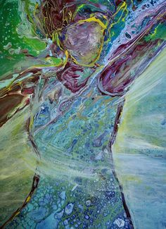 "Contemporary Acrylic Painting, Faceless Victorious Woman, Victory, Overcomer, Embellished Pour, ""Ari Mahogany Color, Prophetic Art, Pour Painting, Blue Abstract, Acrylic Pouring, Beautiful Paintings, Photo Cards, Victorious, Original Paintings"