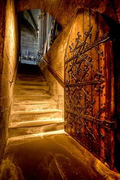 This is the doorway into the crypt at Hereford Cathedral, taken from inside the crypt. By Terry Yarrow