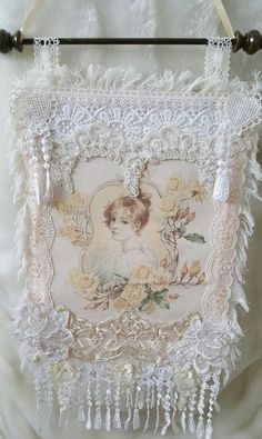 Wall hanging  Shabby chic wall hanging  Lace by Chiclaceandpearls
