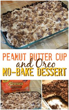 Peanut Butter Cup and Oreo No-Bake Dessert Recipe by Better in Bulk (this is a great way to use up Halloween candy!)