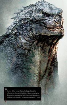 Gorgeous Early Concept Designs For Godzilla KIRSTEN ACUNA  MAY 17, 2014 This is a 3-D rendering of Godzilla.