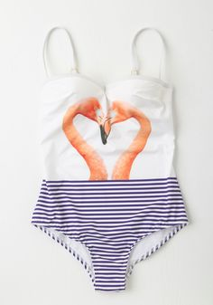 Love is Wading One-Piece Swimsuit. Love is in the air when this flamingo-printed swimsuit meets the sparkling pool water. #white #modcloth