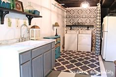 Southern Hospitality's laundry room makeover. It's so fresh and modern. The blue storage cabinets is a HomeGoods find!