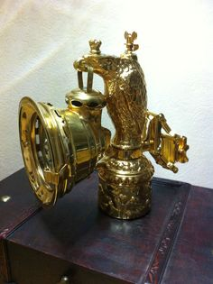 1910 German Abel Eagle Acetylene Carbide Antique Bicycle Lamp, gold plated. in Collectibles, Lamps, Lighting, Lamps: Non-Electric | eBay