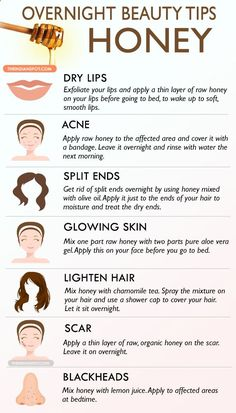 Honey can be used in many different ways to treat your skin and hair, so here are few ways to use honey in an overnight beauty treatment.Use honey in your b...