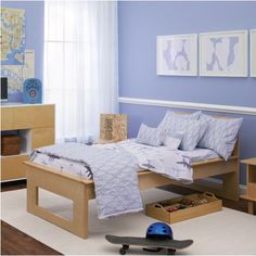 Modern 'Planes and Clouds' boys room.