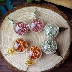 100sets/lot 50pairs 14*4mm round ball glass globe ear studs set earring wire no fille glass globe earrings charms