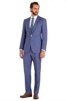 Moss 1851 Italian Cloth Tailored Fit Light Blue Suit