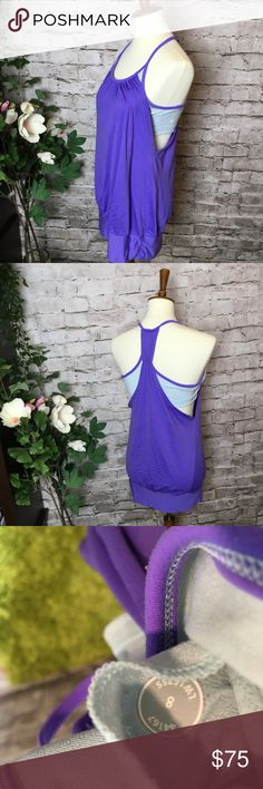 Lululemon NO LIMITS tank top with sports bra Purple and turquoise.  Size 8.   Make a reasonable offer and I'll either counter, accept or decline. No trades. Please check out the rest of my closet, I have various brands. lululemon athletica Tops Tank Tops