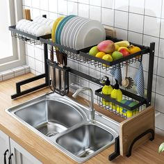 Stainless Steel Kitchen Dish Rack Organizer – DIY HOME DECOR Drying rack improves the kitchen space utilization Package Included: 1 Set Dish Rack Keep your kitchen counter organized and drying Kitchen Sink Storage, Tidy Kitchen, Kitchen Rack, Kitchen Dishes, Kitchen Organization, Kitchen Decor, Rack Shelf, Storage Rack, Dish Racks