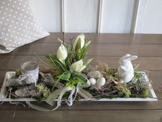 """Mary saved to mit dusche*großes Ostergesteck* """"Frühlingserwachen"""" wei. White Wooden Tray, Mermaid Invitations, Shabby Style, Hoppy Easter, Tea Light Holder, Easter Crafts, Spring Flowers, Flower Arrangements, Christmas Wreaths"""