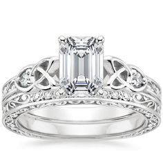 Explore our stunning collection of wedding ring sets and bridal sets featuring dazzling diamond engagement rings and matching wedding rings. Timeless Engagement Ring, Engagement Ring Styles, Designer Engagement Rings, Vintage Engagement Rings, Diamond Engagement Rings, Celtic Knot Ring, Celtic Wedding Rings, Celtic Knots, Wedding Band