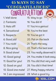 Congratulations Synonym: 45 Ways To Say Congratulations - 7 E S L English Sentences, English Vocabulary Words, English Idioms, Learn English Words, English Phrases, English Grammar Games, Grammar Tips, French Grammar, English Learning Spoken