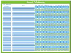 Editable Bill Payment Schedule  Organizing Organizations And