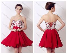 Red Strapless Party Dress, Black Short Lace Dress-Simply Dresses ...