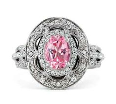 2013 JCK Jewelers' Choice Award Finalist: Stuller white gold oval-shape semi-mount diamond engagement ring set with a ct. x pink sapphire center, accented with cts. Diamond Wedding Rings, Diamond Engagement Rings, Bridal Jewelry, Unique Jewelry, Women Jewelry, Lace Ring, Pink Sapphire Ring, Oval Engagement, Thing 1