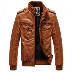 Men Brown Stand Collar Leather Jacket