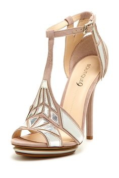 Boutique 9 Orseena High Heel Sandal - nude and silver Art Deco [Gatsby] inspired