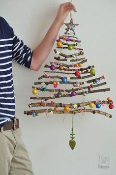 20 ideias para copiar - Árvore de natal de parede - árvore de natal criativa