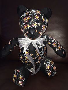 Memory bear made from a beautiful dress... In honor of a beautiful mother, grandmother, and great-grandmother.