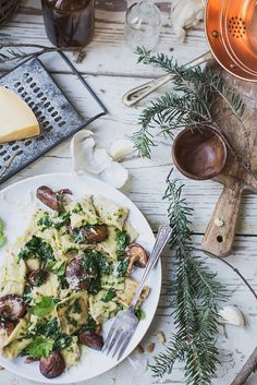 Celery Root & Goat Cheese Agnolotti + Parsley Brown Butter & Shiitakes by Beth Kirby