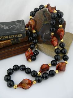 Genuine Murano Glass, Onyx and 14KT Gold-Filled Bead Necklace