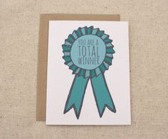 Items similar to Congratulations Card - You Are A Total Winner Ribbon on Etsy Well Done Card, Bday Cards, Congratulations Card, Invite Your Friends, Ribbon, Invitations, Unique Jewelry, Handmade Gifts, Crafts