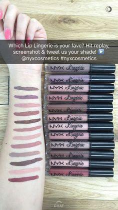 NYX Lingerie lip swatches