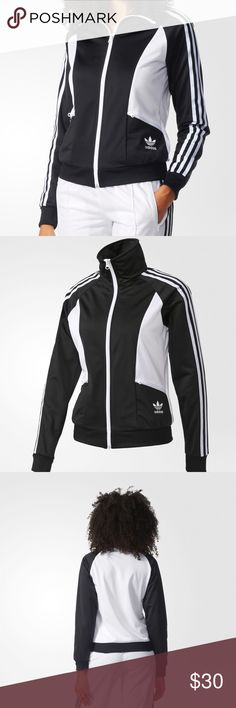 NWT Adidas Originals Track Jacket Black White Whether you rock it at the gym or brunch with the girls, this zip-front track jacket from adidas Originals puts a fresh twist on old-school cool.  Fits true to size  Fold-over collar, long sleeves with signature stripes, ribbed cuffs Zip front closure, logo at hip, two side zip pockets, ribbed hem  Polyester; trim: cotton/polyester Machine wash. New with tags. adidas Jackets & Coats