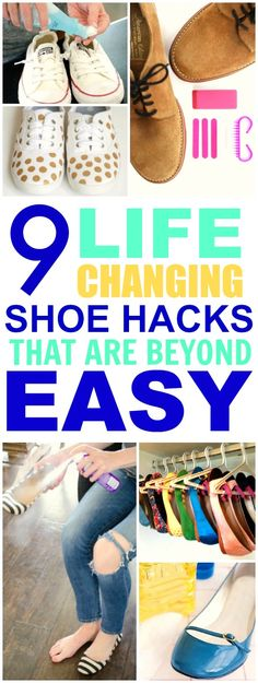 These 9 shoe hacks are THE BEST! I'm so happy I found these GREAT tips! Now I have some awesome ideas on how to revamp and save my shoes! Definitely pinning for later!