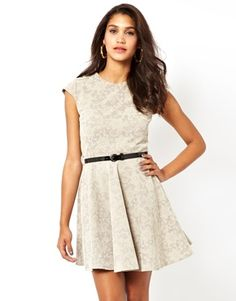 Club L Bonded Lace Skater Dress With Belt
