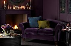 09 Deep And Moody Aubergine Purple Of This Living Room Draws One In. 09 Deep And Moody Aubergine Purple Of This Living Room Draws One In. 09 Deep And Moody Aubergine Purple Of This Living Room Draws One In Winter Living Room, Home Living, Living Room Sofa, Cottage Living, Modern Living, Living Area, Purple Interior, Home Interior, Interior Design