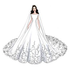 Meghan Markle's Wedding Dress Will Look Like This, According to These Designers' Sketches Dress Design Drawing, Dress Design Sketches, Fashion Design Drawings, Wedding Dress Drawings, Wedding Dress Illustrations, Design Illustrations, Fashion Drawing Dresses, Fashion Illustration Dresses, Drawing Fashion