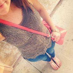 Olive crochet tank, coral cross-body purse, gold accessories