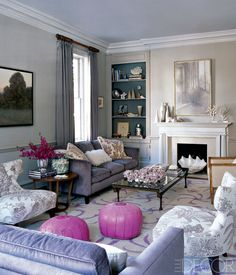 """""""At Home with Ali Wentworth and George Stephanopoulos"""" Washington DC House from Elle Decor magazine: Neutral wall color with interior of built-ins a darker contrasting color. Pastel Living Room, Eclectic Living Room, Living Room Grey, Living Room Decor, Living Spaces, Living Rooms, Pastel Room, Coastal Living, Living Area"""