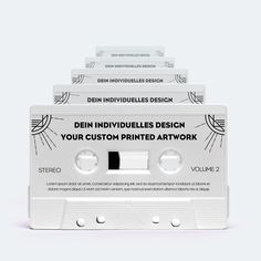 Duplicated cassettes in different colors with ferro magnetic tape and custom tape lenght (C10 - C90). Duplication with own audio data. Inklusive print.